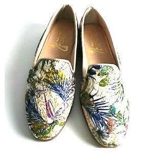 NEW Gold glitter loafer flats Tropucal print